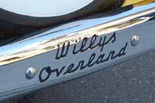 Re-chromed rear bumper and detailed Willys-Overland script on a 1949 Willys Overland Jeepster Sports Phaeton