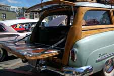 Photo of wood tailgate and chrome trim on a vintage 1951 Buick Super Estate Wagon woody