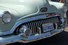 Detail image of the beautiful 25 tooth chrome front grille on a classic 1951 Buick Estate Wagon woodie