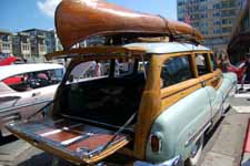 1951 Buick Super Estate Wagon with open tailgate showing woodwork and awesome chrome hardware