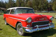 1955 Chevy Bel Air Nomad Station Wagon With White Roof and Red Body Paint