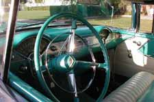 Original Turquoise Bel Air Steering Wheel in 1955 Chevy Nomad Wagon