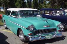 Lowered 1955 Chevy Nomad Wagon in Stock White and Regal Turquoise #598 Paint