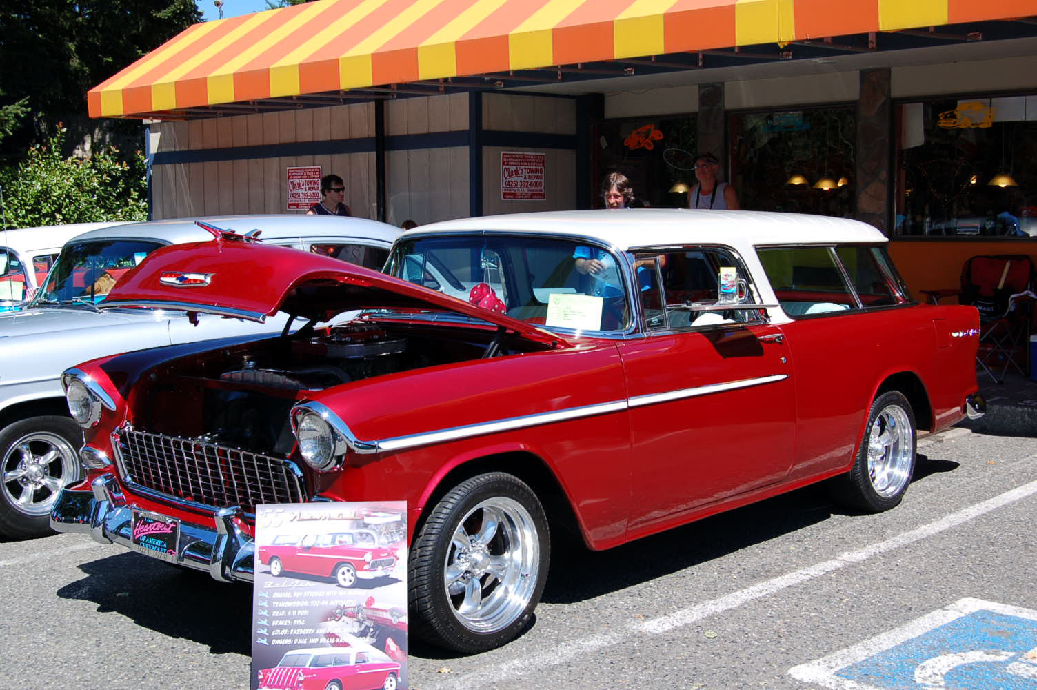 Very sharp 1955 chevy nomad wagon painted white over metallic red 1955 chevy bel air