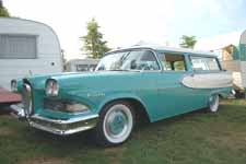 Rare 1958 Edsel Roundup 2 door station wagon has slanted B-pillar like a 1955-1957 Chevy Nomad station wagon