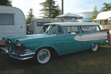 Photo of awesome 1958 Edsel Roundup Station Wagon painted in factory turquoise and white paint