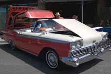 1959 Ford Galaxie Skyliner painted factory colors; Colonial White #M0524 over Geranium #M1018