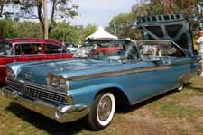 Photo of rare 1959 Ford Galaxie Skyliner Retractable Hardtop finished in factory Surf Blue (M1011) metallic paint