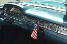 1959 Ford Galaxie Skyliner interior with dashboard painted stock Surf Blue metallic paint (color# M1011)