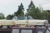 Awesome but very rusty 1950's Cadillac convertible at vintage car junkyard