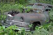 Amazingly straight and original Packard sedan stored in vintage car salvage yard