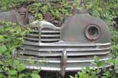 Restorable Packard sedan project car in vintage car junkyard
