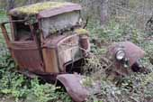 Project pickup truck in classic car salvage yard