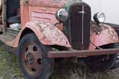 Very original and stock front end on 1936 Chevy truck at classic car junk yard
