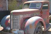 Vintage Diamond-T truck in great condition in vintage truck storage yard