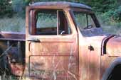 Rusty but stock 1950's Willys jeep pickup truck in classic car junk yard